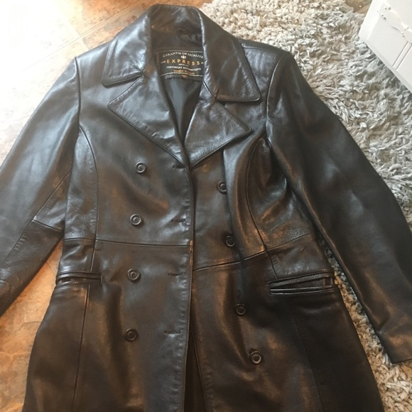 special discount of cute purchase newest Express mid length leather jacket